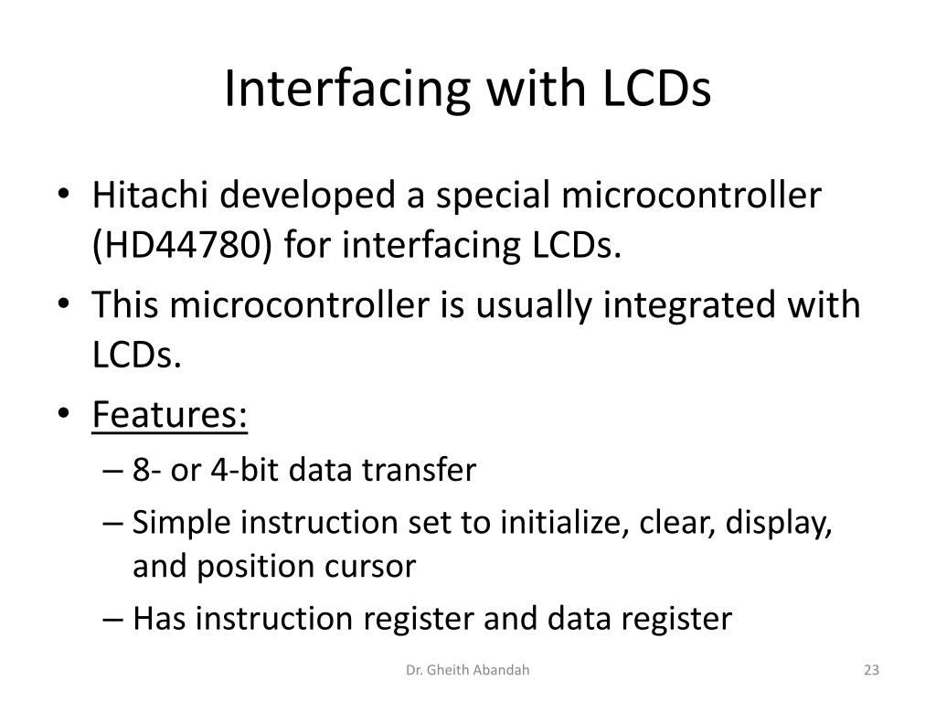 Interfacing with LCDs