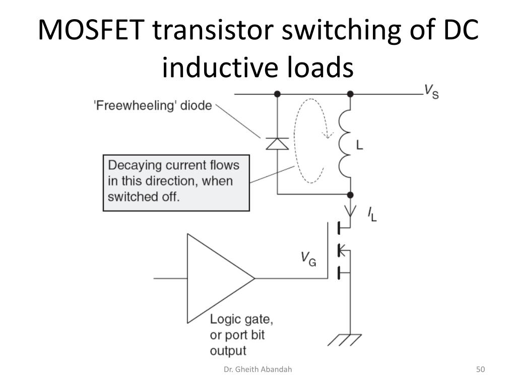 MOSFET transistor switching of DC inductive loads
