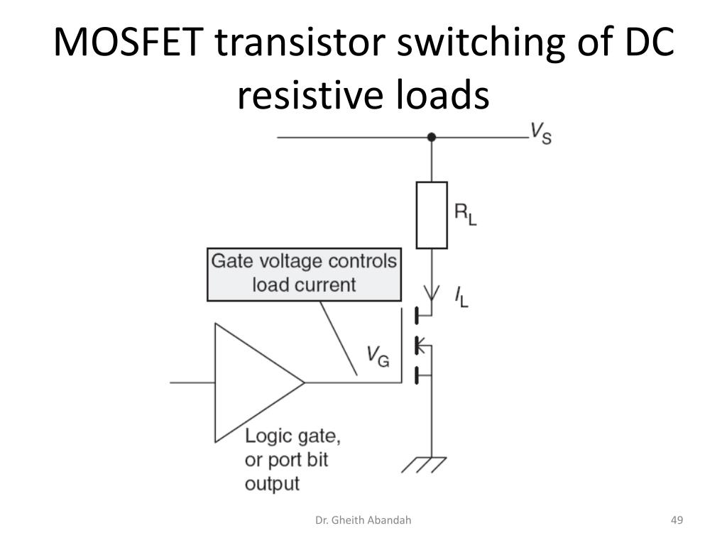 MOSFET transistor switching of DC resistive loads