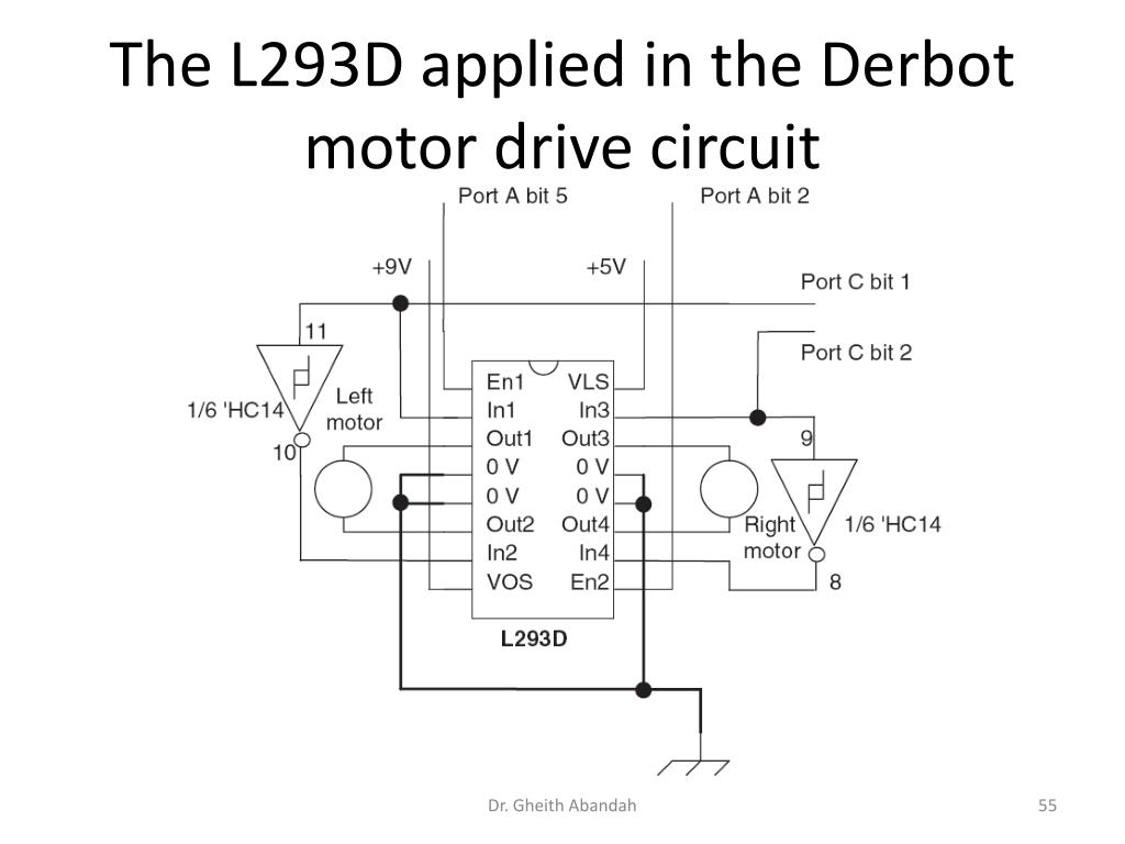 The L293D applied in the Derbot motor drive circuit