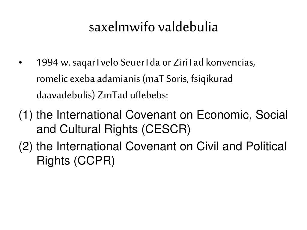 saxelmwifo valdebulia