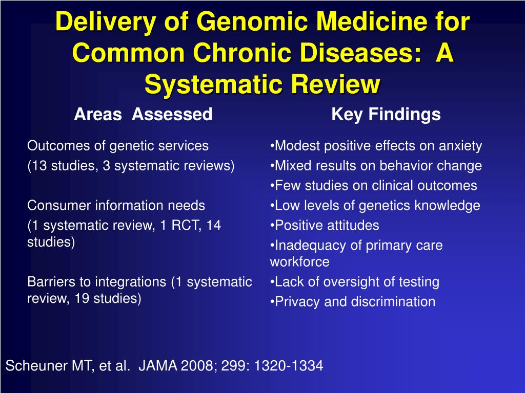 Delivery of Genomic Medicine for Common Chronic Diseases:  A Systematic Review