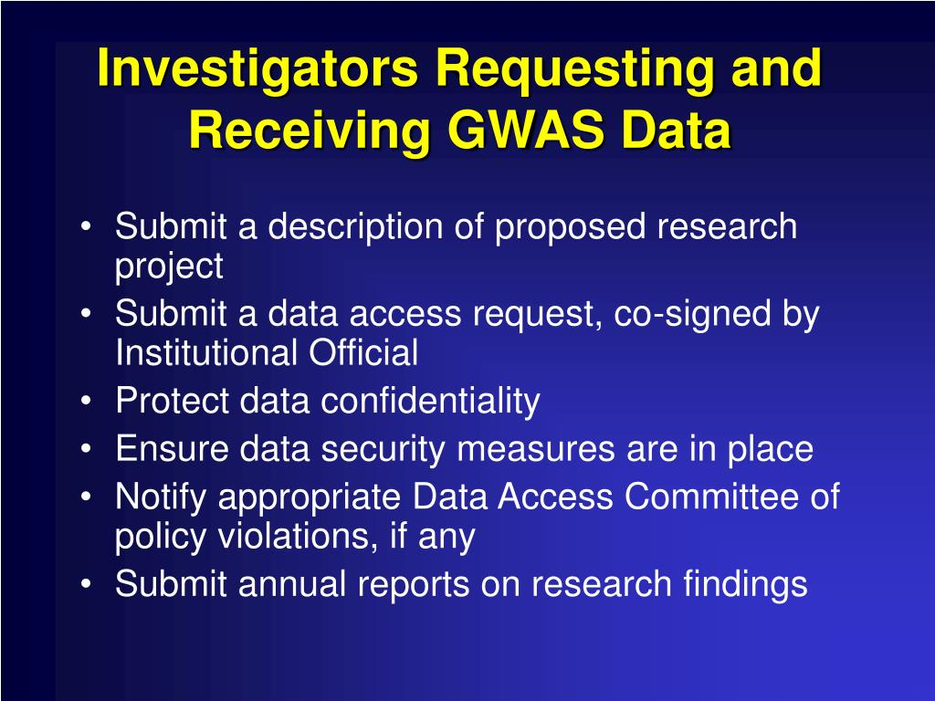 Investigators Requesting and Receiving GWAS Data