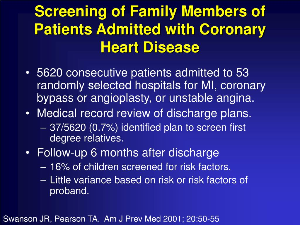 Screening of Family Members of Patients Admitted with Coronary Heart Disease