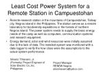 least cost power system for a remote station in campuestohan