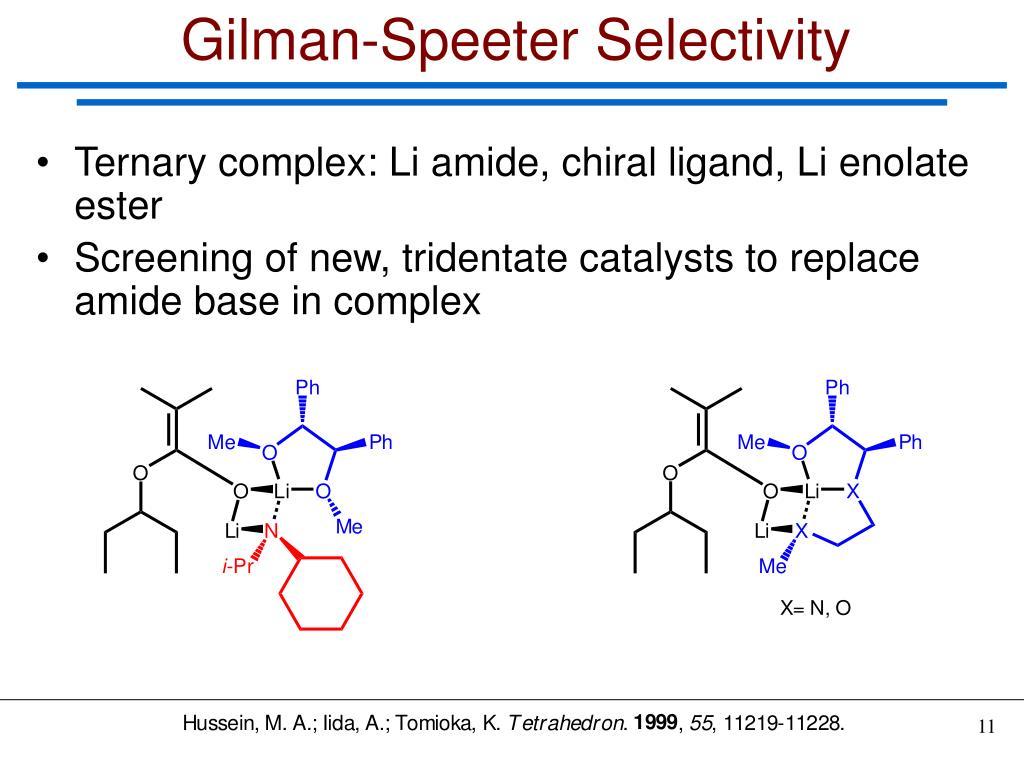 Gilman-Speeter Selectivity