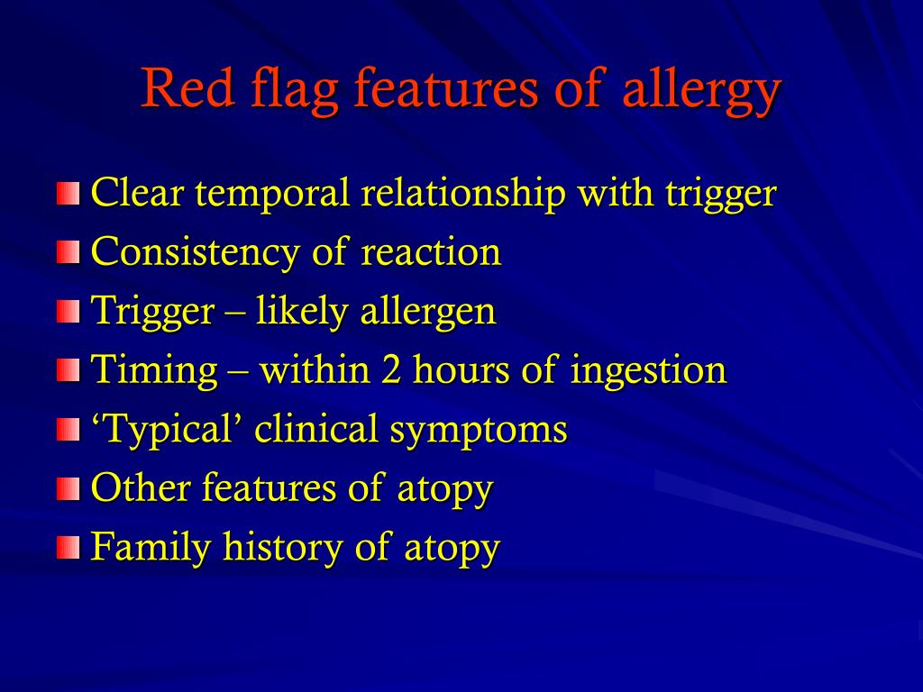 Red flag features of allergy