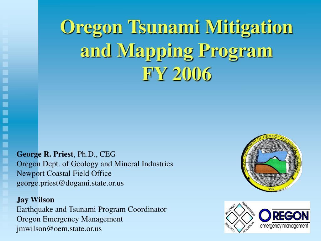 oregon tsunami mitigation and mapping program fy 2006 l.