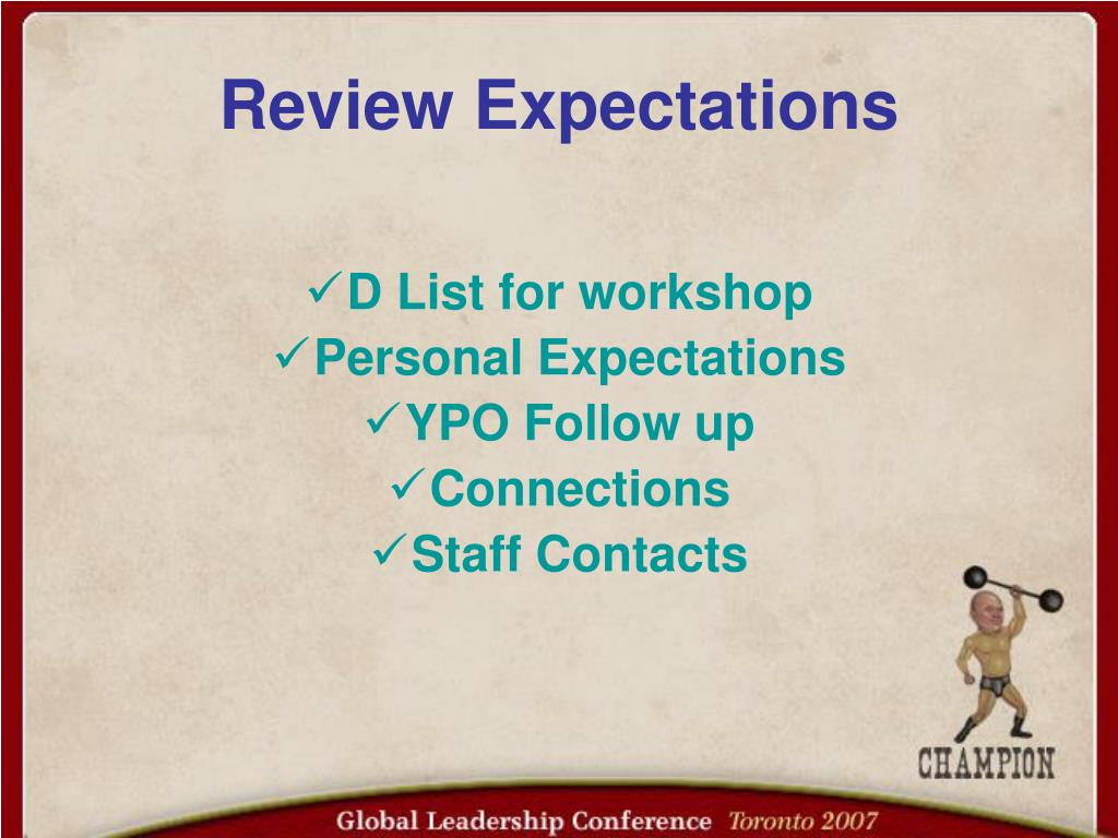 Review Expectations