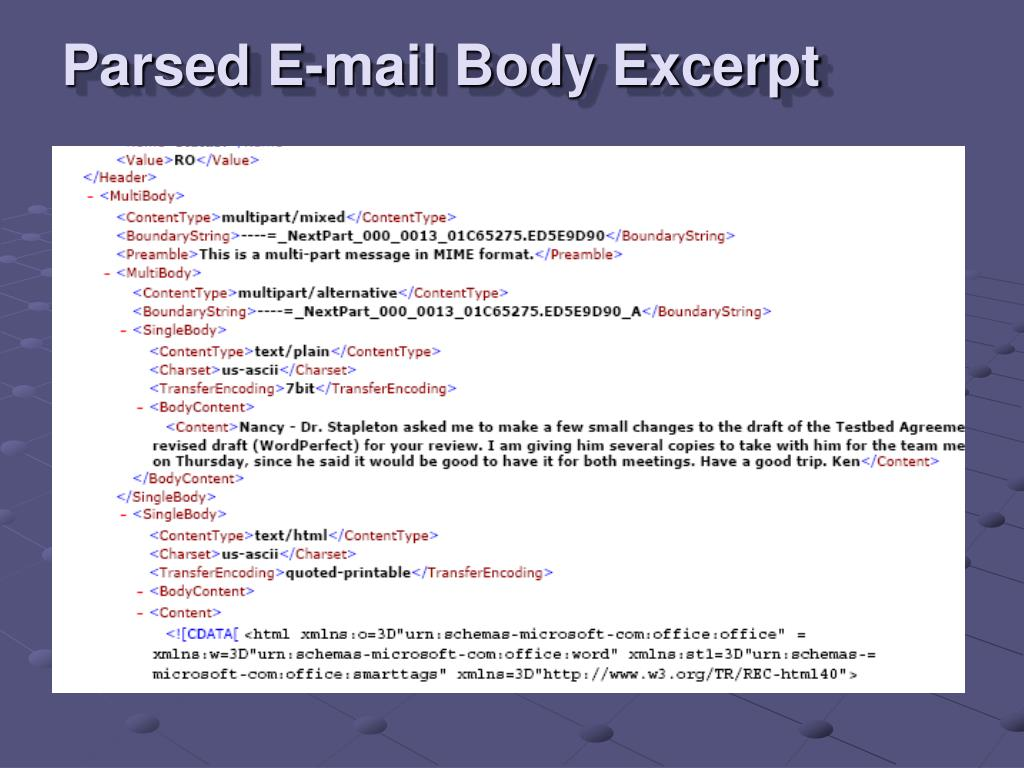 Parsed E-mail Body Excerpt