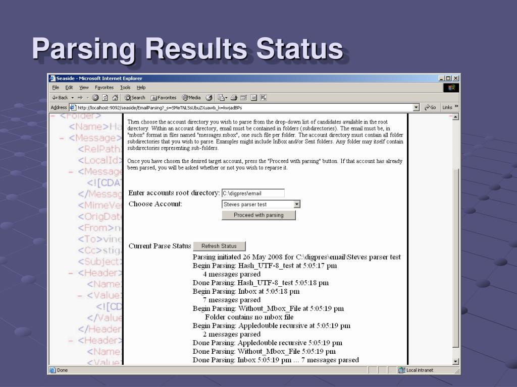 Parsing Results Status