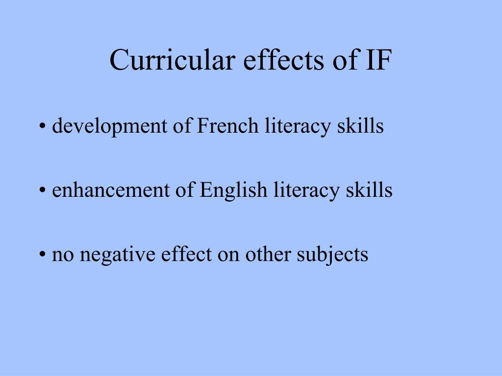 Curricular effects of IF