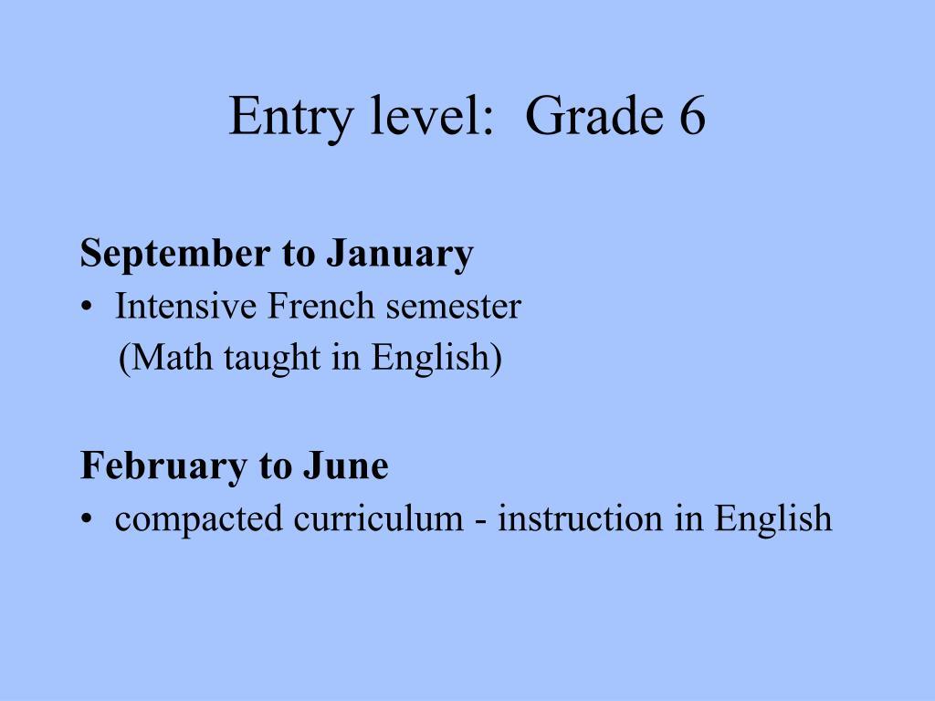 Entry level:  Grade 6