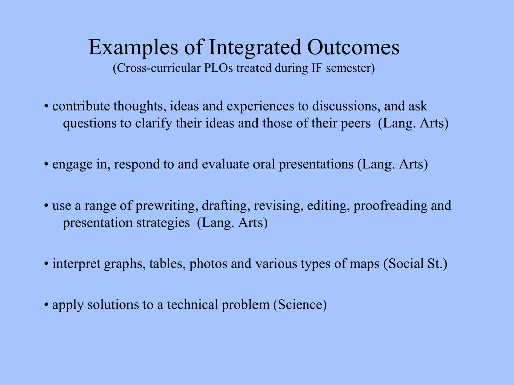 Examples of Integrated Outcomes