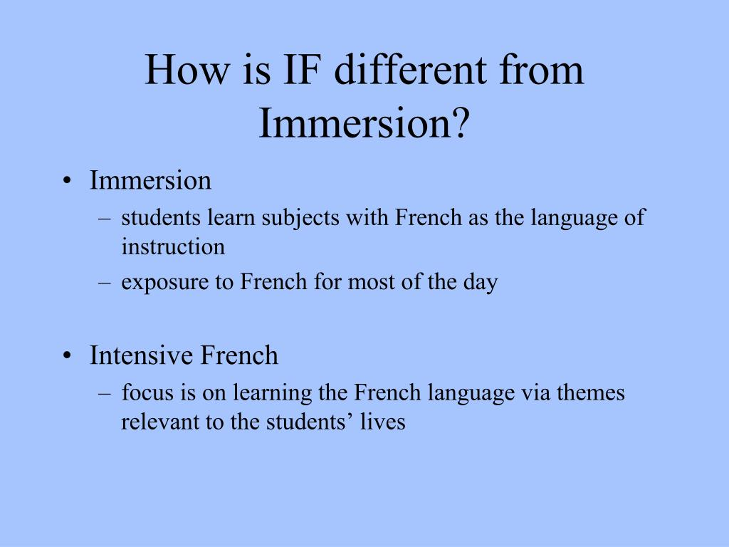 How is IF different from Immersion?