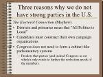 three reasons why we do not have strong parties in the u s