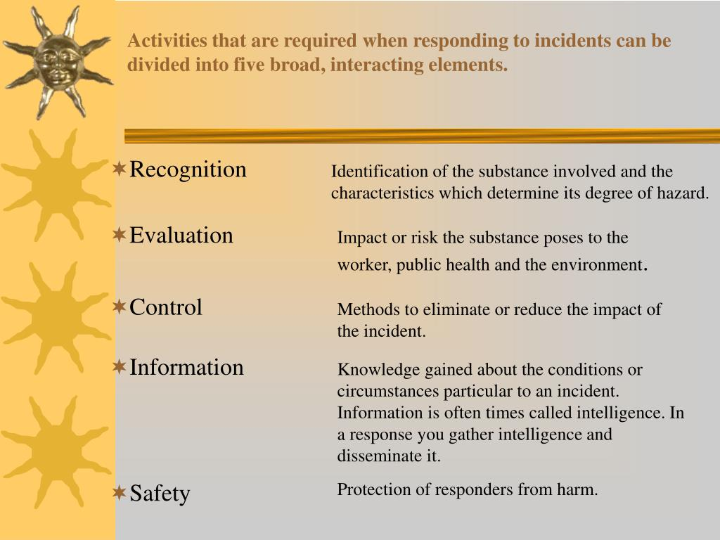 Activities that are required when responding to incidents can be divided into five broad, interacting elements.