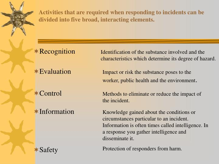 Activities that are required when responding to incidents can be divided into five broad, interactin...