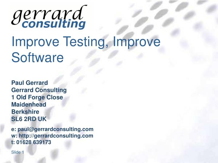 improve testing improve software