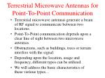 terrestrial microwave antennas for point to point communication