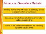 primary vs secondary markets