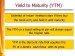 yield to maturity ytm