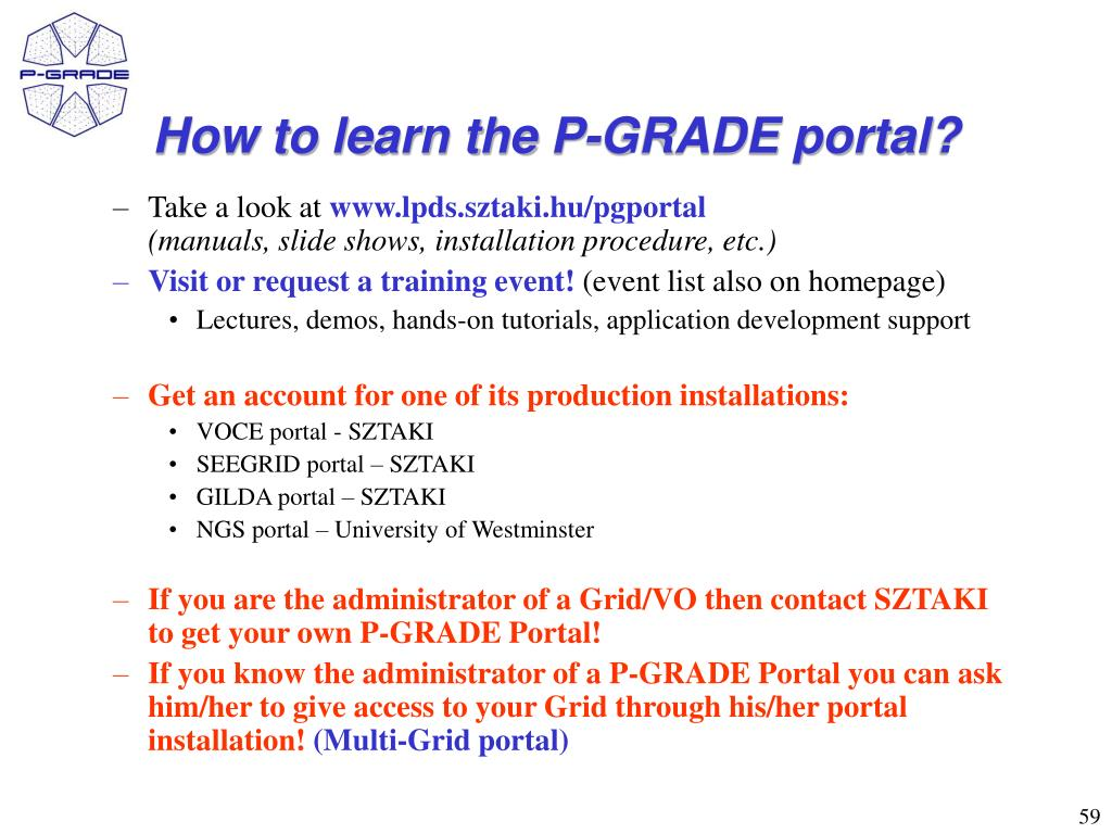 How to learn the P-GRADE portal?