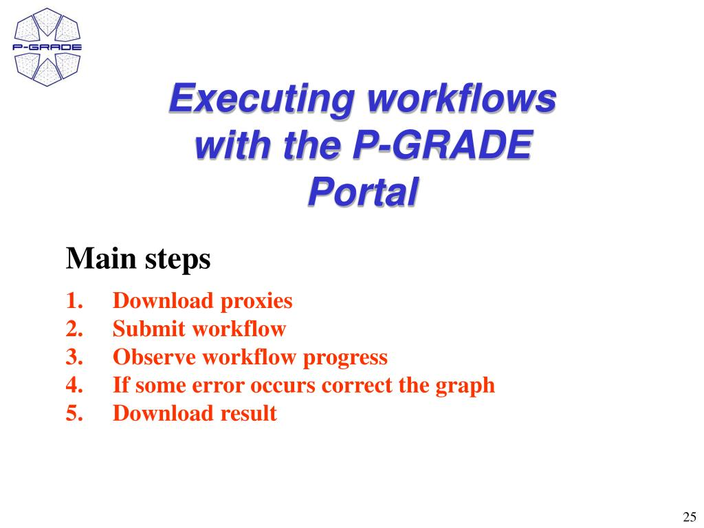Executing workflows with the P-GRADE Portal