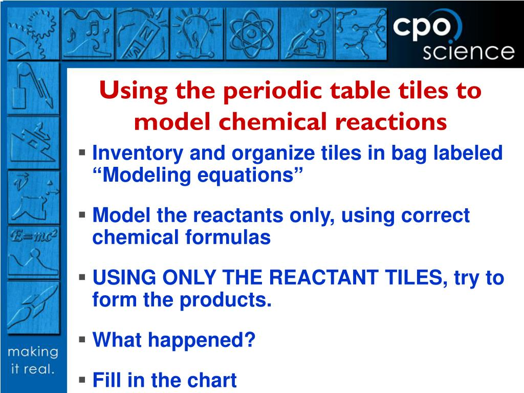 Using the periodic table tiles to model chemical reactions