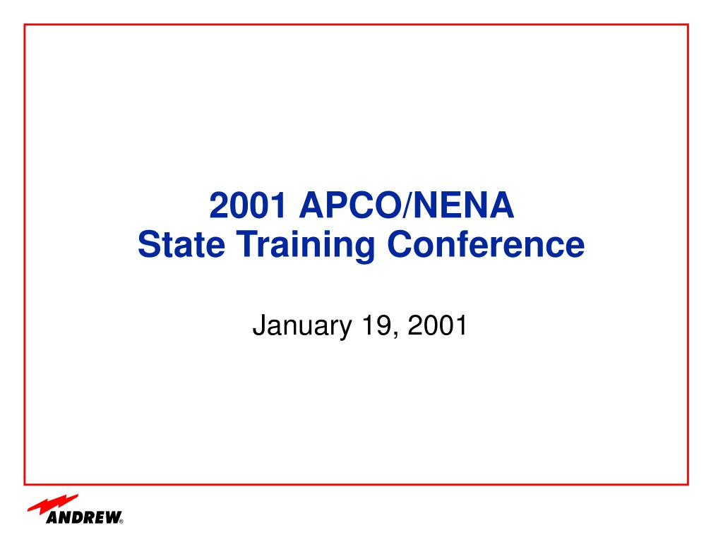 2001 apco nena state training conference l.