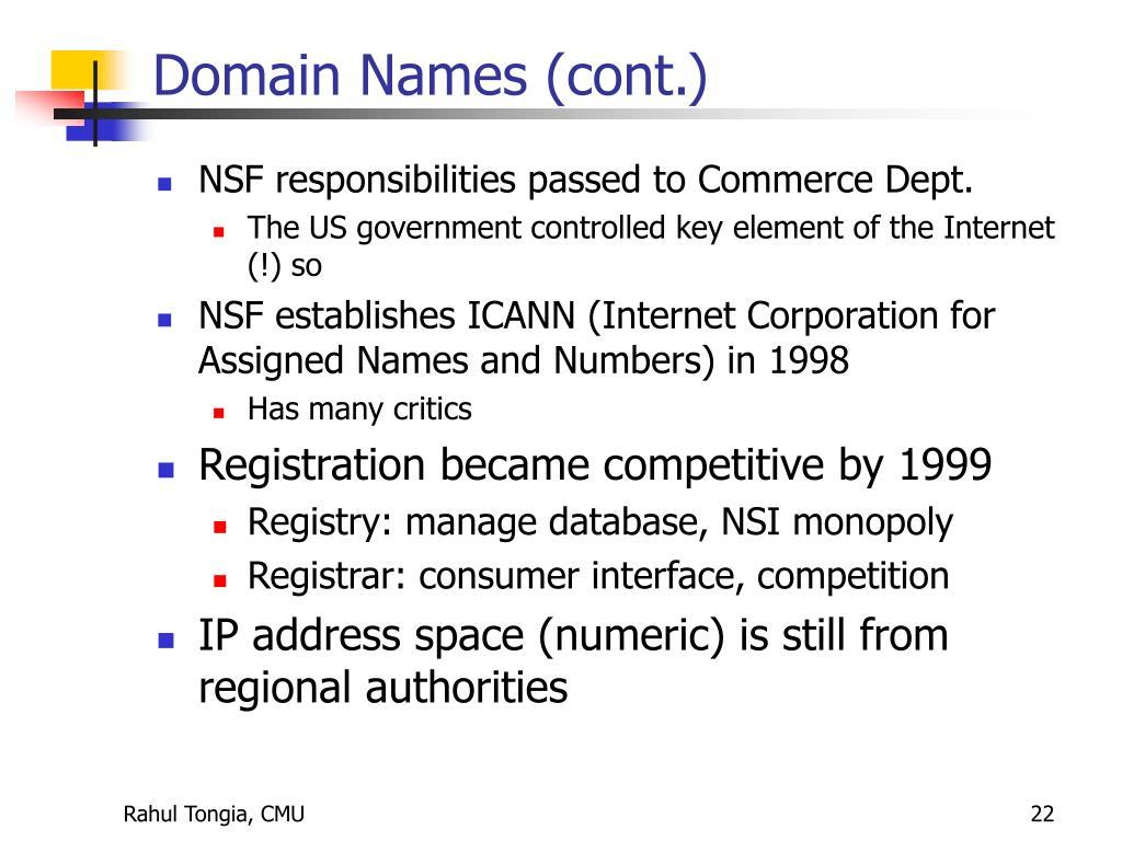 Domain Names (cont.)