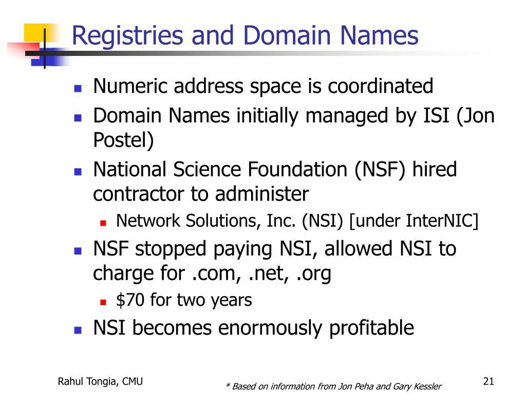 Registries and Domain Names