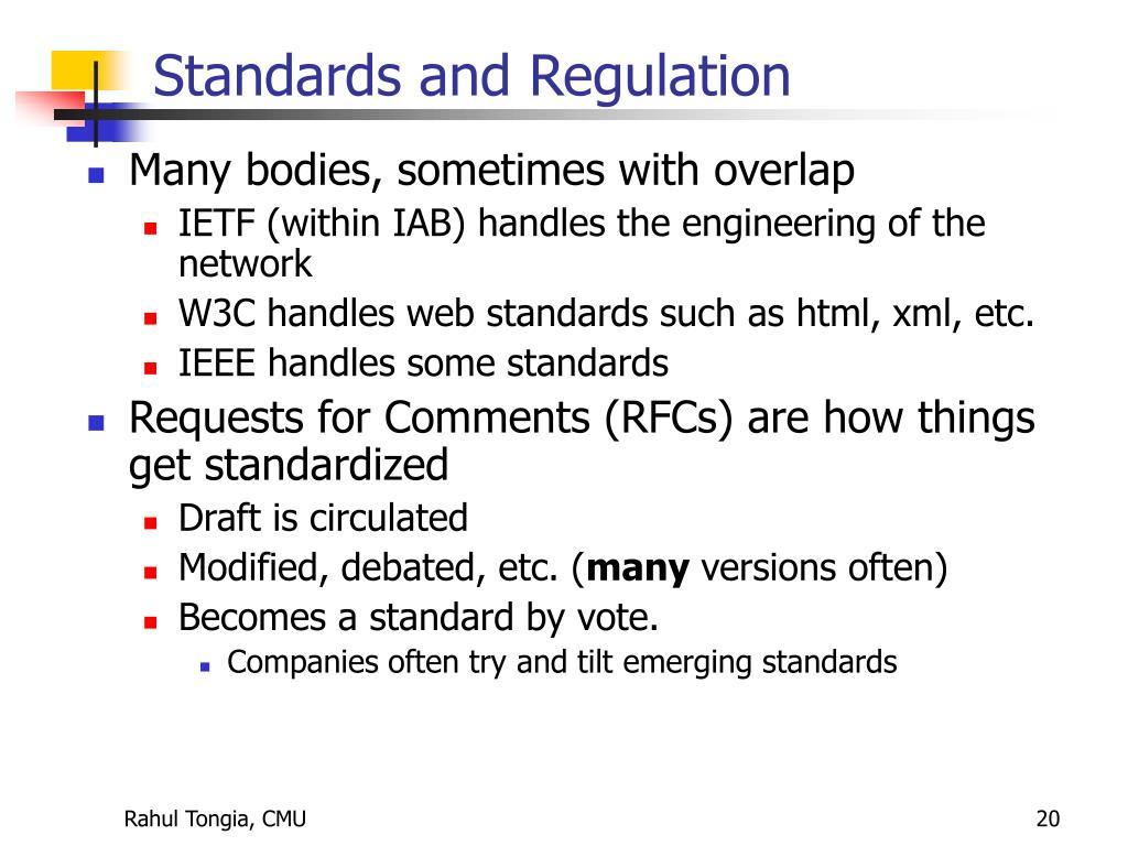 Standards and Regulation