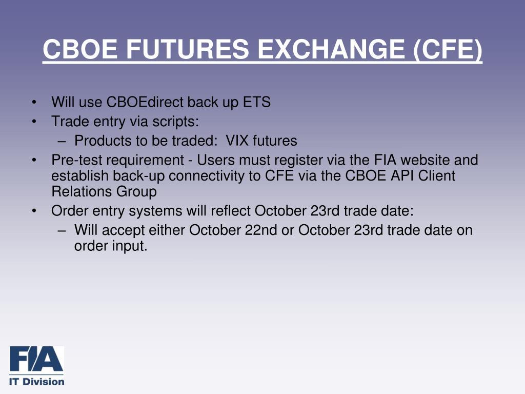 CBOE FUTURES EXCHANGE (CFE)