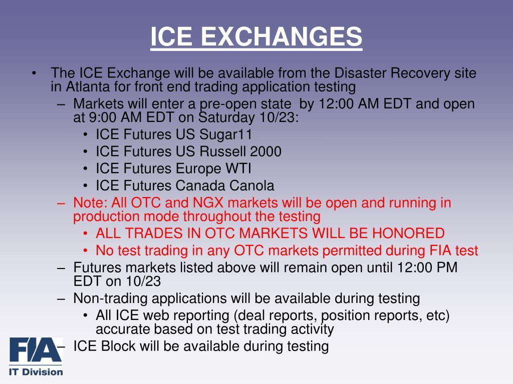 ICE EXCHANGES