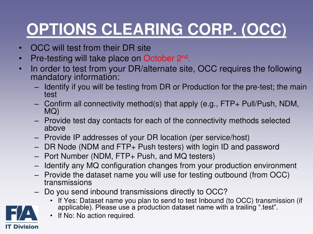 OPTIONS CLEARING CORP. (OCC)