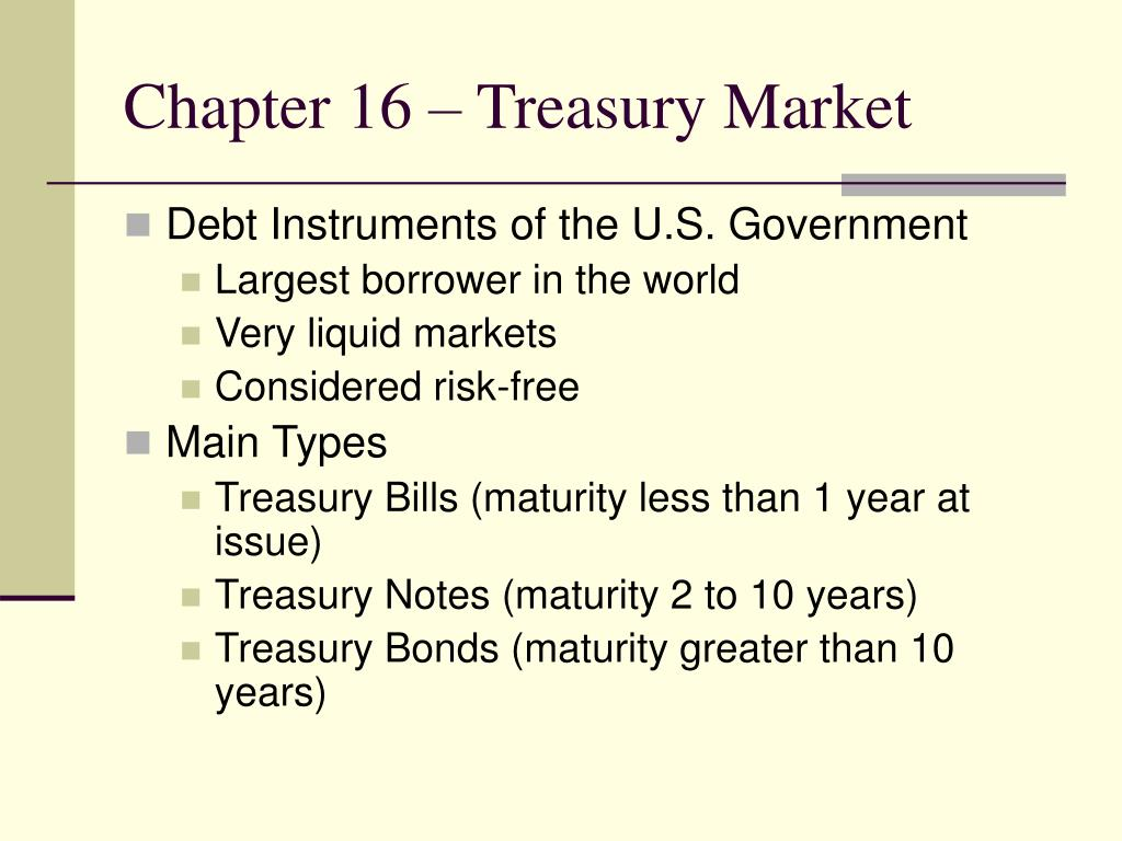 Chapter 16 – Treasury Market