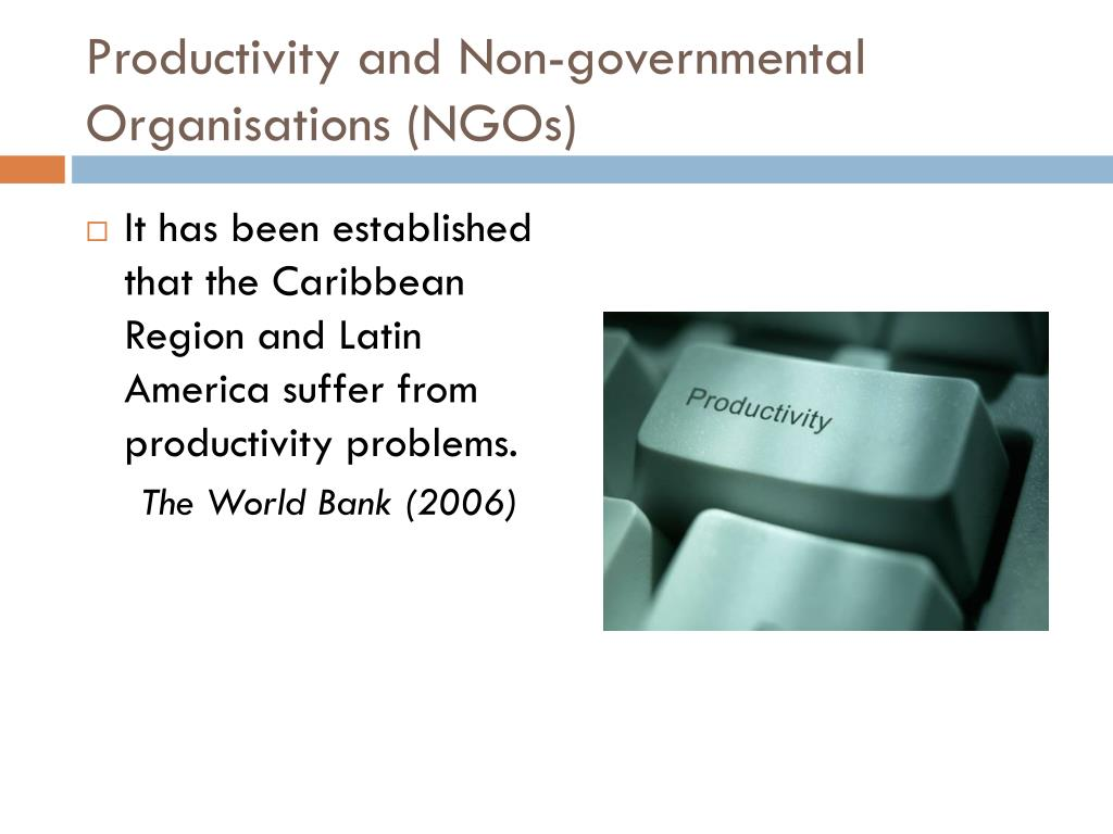 Productivity and Non-governmental Organisations (NGOs)