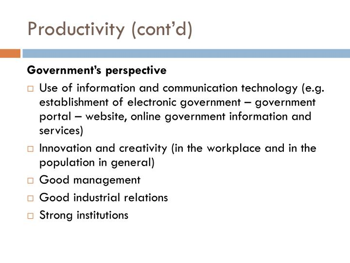 Productivity cont d