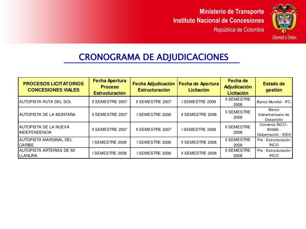 CRONOGRAMA DE ADJUDICACIONES