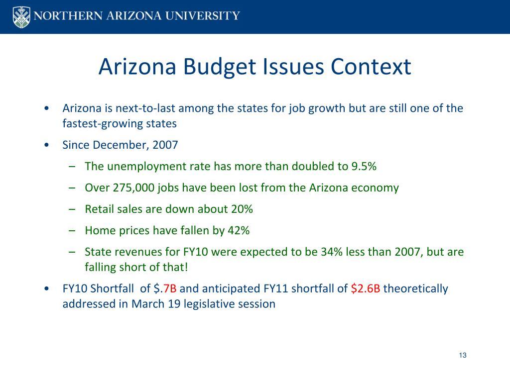 Arizona Budget Issues Context