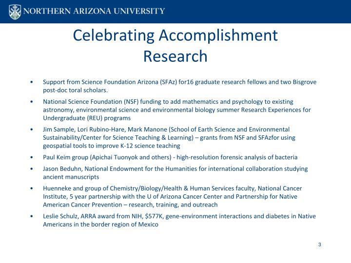 Celebrating accomplishment research