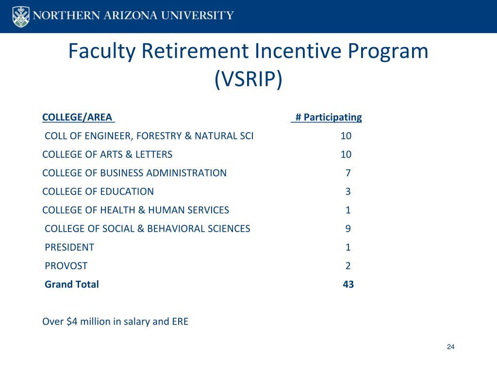 Faculty Retirement Incentive Program (VSRIP)