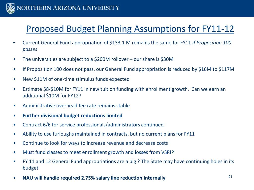 Proposed Budget Planning Assumptions for FY11-12