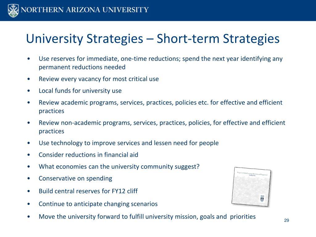 University Strategies – Short-term Strategies