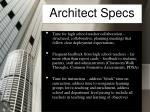 architect specs