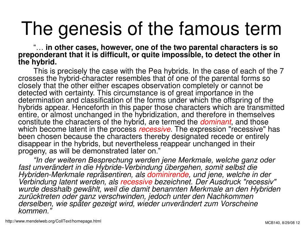 The genesis of the famous term