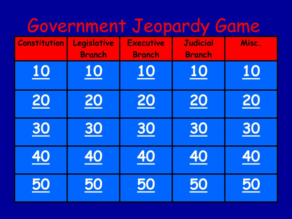 Government Jeopardy Game
