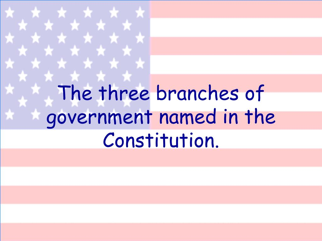 The three branches of government named in the Constitution.