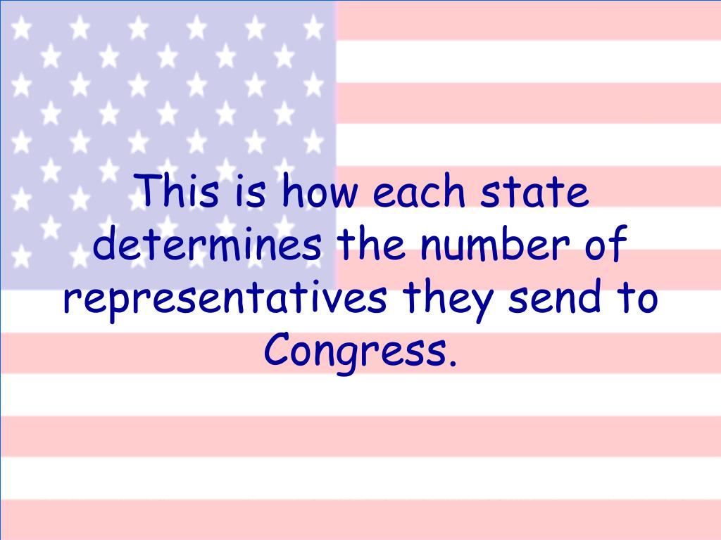 This is how each state determines the number of representatives they send to Congress.
